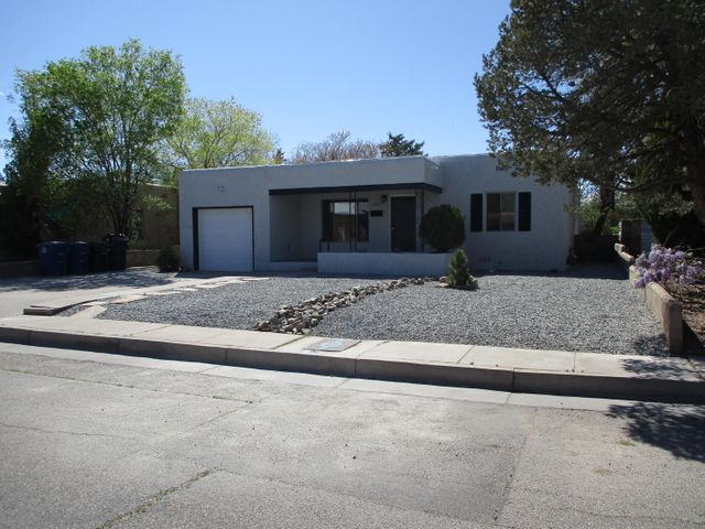 Great Ridgecrest community in E. UNM location,Close to Restaurants, UNM, hospitals, Air force base.  3 BR 3 BA 1 CG plus private office/game room or could be 4th BR, with separate entrance. NEW:  Kitchen cabinets, granite counter tops,  stainless steel appliances, bathrooms, including MBA with soaking tub and separate shower, his and her walk in closet ,  new plumbing including water lines and sewer-lines TPO roof, Refurbished Hardwood floors , central heat and Refrigerated air. update double pane windows, large laundry room with cabinets and granite counter tops, new garage door and opener , large covered patio,  nice size lot with work shop and storage shed. Come make this your new home. Move in ready!