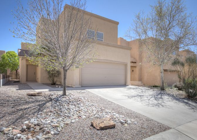 Super Popular Subdivision at Close in Rio Rancho!  This well built Centex home features great initial quality construction with quality updates. The Floor Plan is Open & has Two BRs down, both with Fans & a full bath down. The upstairs is exclusively a large Master Suite. Along with the 8+ ft x 8+ ft closet there is  a soaking tub, 2 sinks & separate shower. The high end kitchen amenities include Granite Tops, Bar, Double Wall Oven & Cooktop.  The Pantry is Double wide & has 42'' Hi Upper Cabinets with Crown Moulding.  The large format Tile Floors are everywhere except the BRs & 9 FT Tall Ceilings throughout both floors. Bonuses are Direct vent FP, Decorator color walls w/ white doors & trims, 2'' blinds, Maturing Trees in a shady backyard & Extra Garage Storage.  See Now!  Won't Last Long