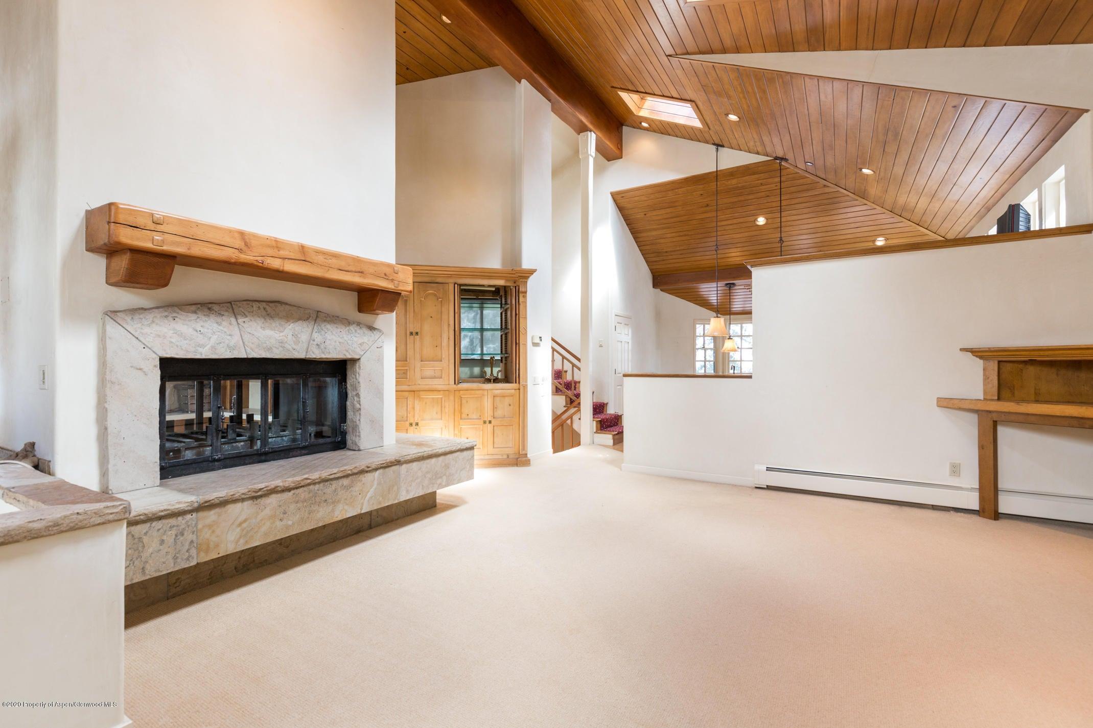 Living room, wood burning fireplace