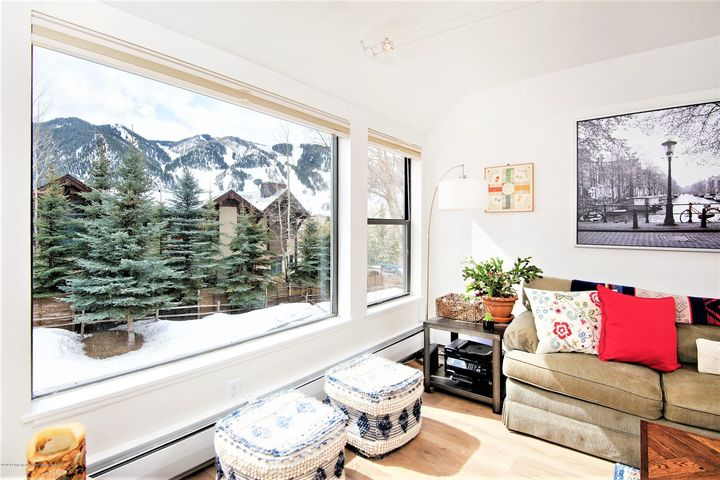 This beautifully remodeled Top Floor 1 Bedroom, 1 Bath has spectacular views of Aspen Mountain with a bright and sunny south facing living area. Fully renovated in 2018, this turnkey condo offers brand new appliances, quartz countertops, new flooring, tiled bathroom, large new windows, a wood burning fireplace, and washer dryer in the unit. Located in Building 9 this unit is directly across from the shuttle to Aspen or within walking distance to town. Enjoy all that Hunter Creek has to offer with hot tub, pool and tennis courts!