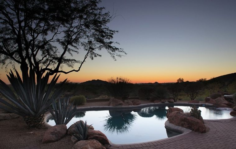Patio with unobstructed Sunset Views