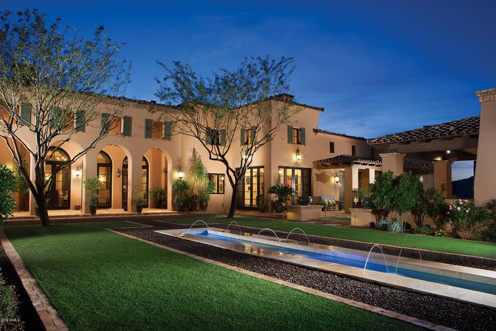 Rear elevation view from the serenity pool and formal gardens.