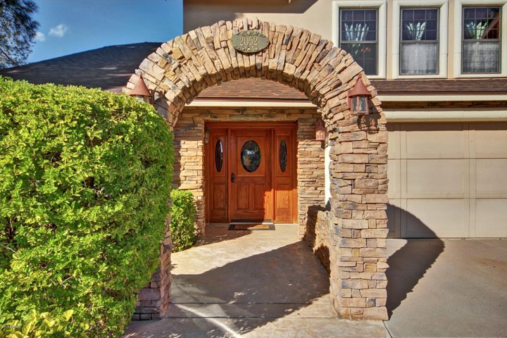 Custom stone arch on the front walk way