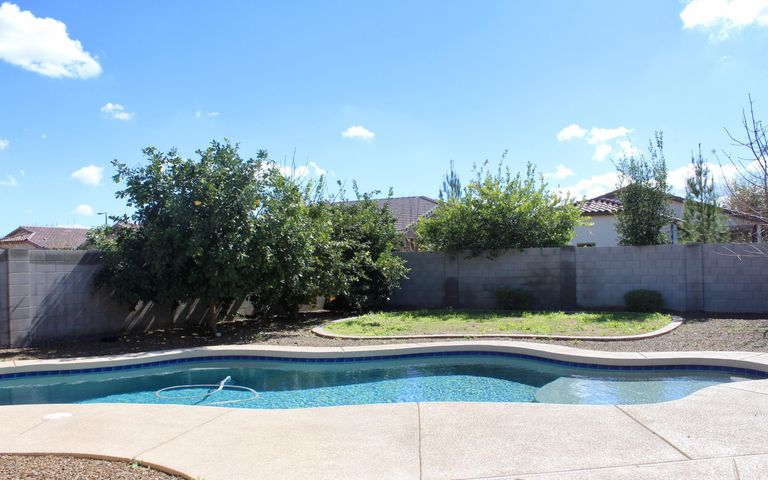 Refreshing salt water pool with lots of cool decking on an oversize premium lot along with tons of mature citrus makes this yard inviting! (trees and weeds will be cleaned up)