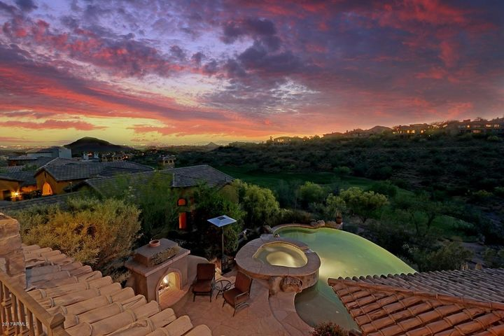 Beautiful Views from Balcony with pool, outdoor gazebo and fireplace below
