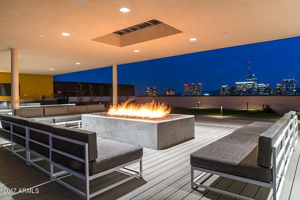Roof top fire pit. Night view