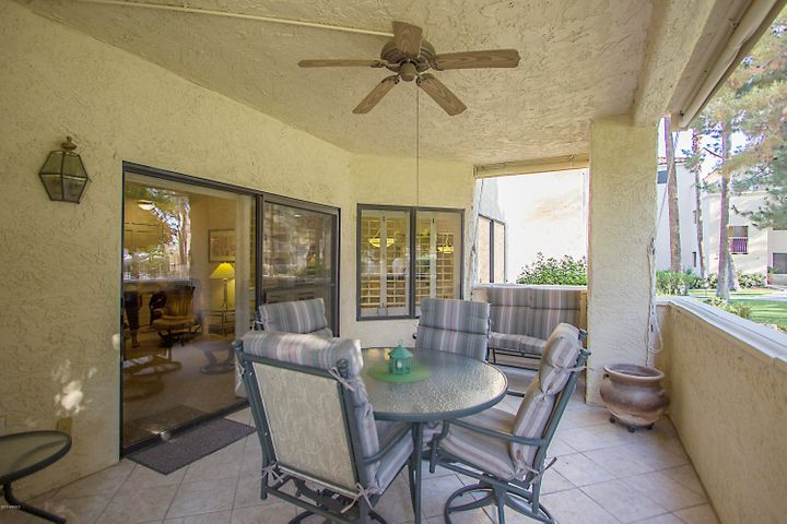 End unit includes a deep patio with plenty of space for relaxing & entertaining.