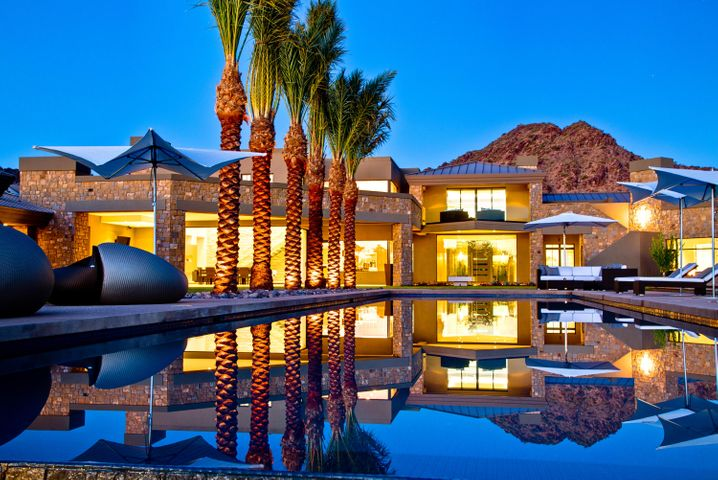 Refined Modern Estate by Brent Kendle of Kendle Design Collaborative. 12,000+square foot contemporary desert jewel resides near the base of Mummy Mountain on more than 2 acres.
