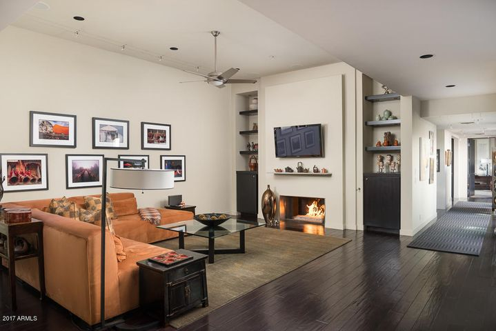 Gas Fireplace, open hallway, so many spaces for art