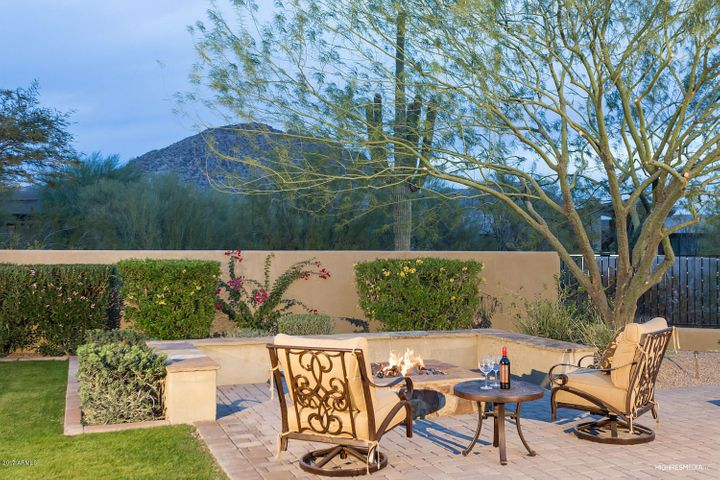 Gas fire pit overlooking mountain views