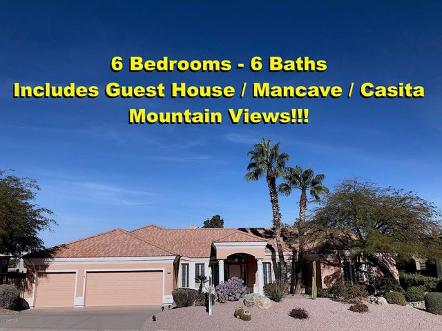 Main home is 4 bed 2 full 2 partial baths. Gues Home has 2 full beds and 2 full baths.