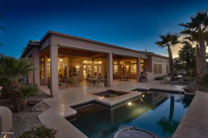 Beautiful Twilight Shots of patio with pool & spa