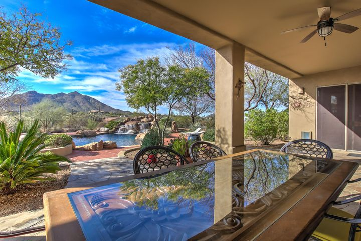 Stunning view of Black Mountain from covered patio.