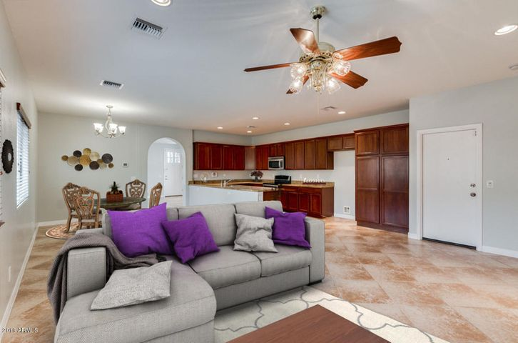 virtually staged kitchen and great room