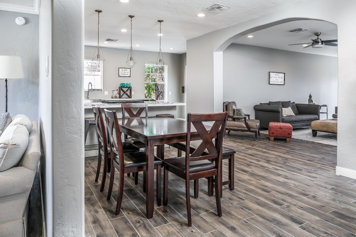 Large open dining and kitchen off of the expansive family room.