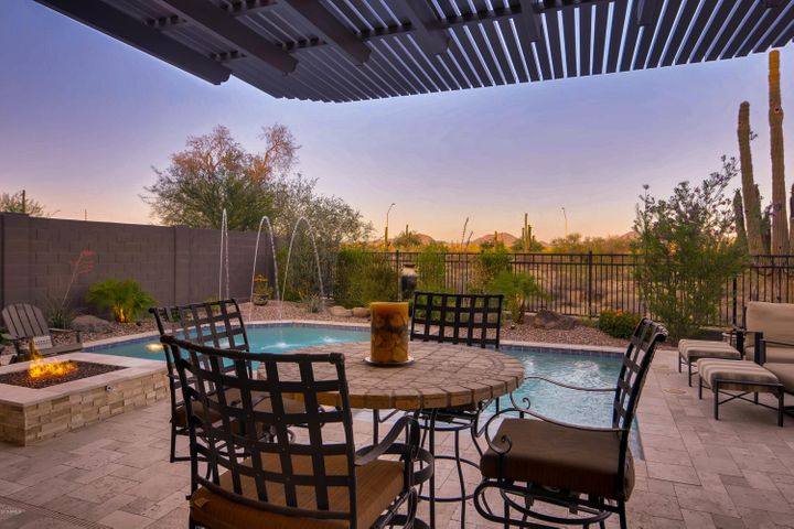 Outdoor entertaining. Arbor installed for additional shade
