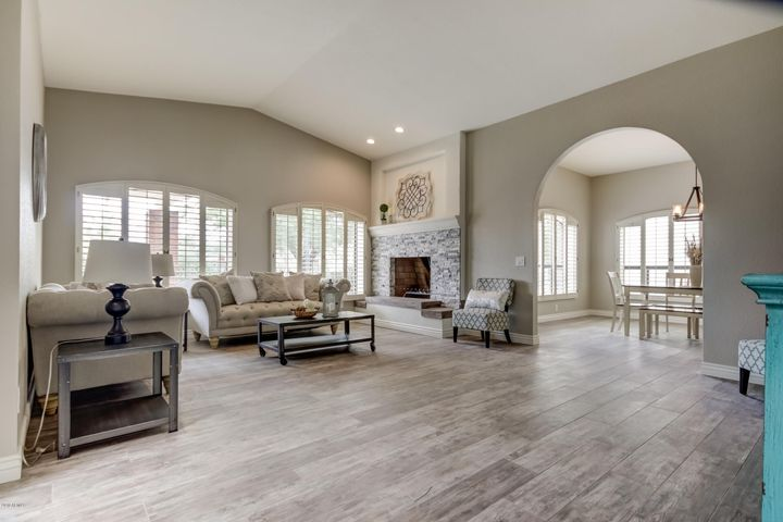 Wood plank Riverwood taupe porcelain tile throughout!