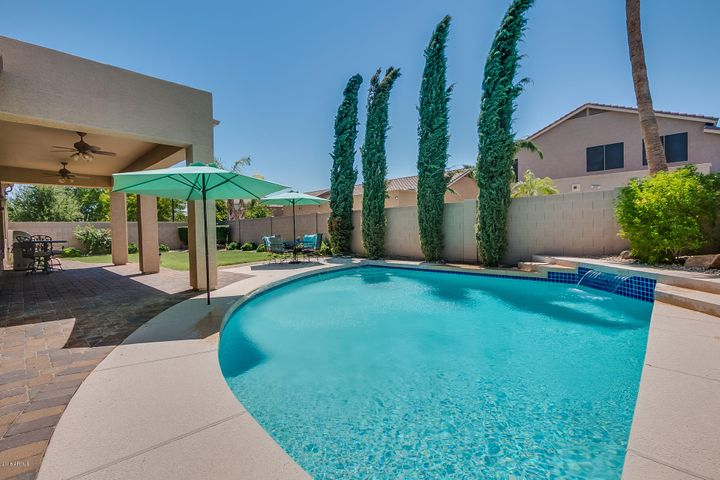 Beautiful Salt Water Pool with cascading waterfall and paver patio to relax in the shade!