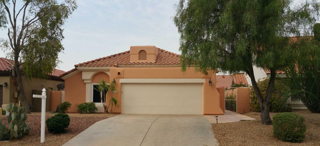 Desert front landscaping, side entrance to house, large shade trees.