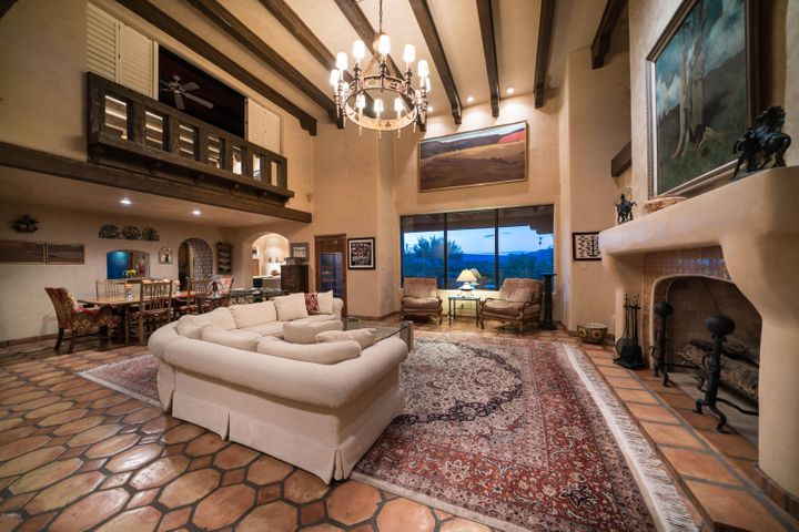 Spanish colonial influence, a grand fireplace & views