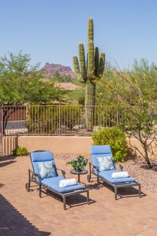 Red Mountain Views from the pool area in this gorgeous custom home in Las Sendas!~