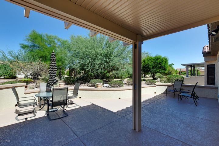 Large partially covered patio in a serene, park like setting.