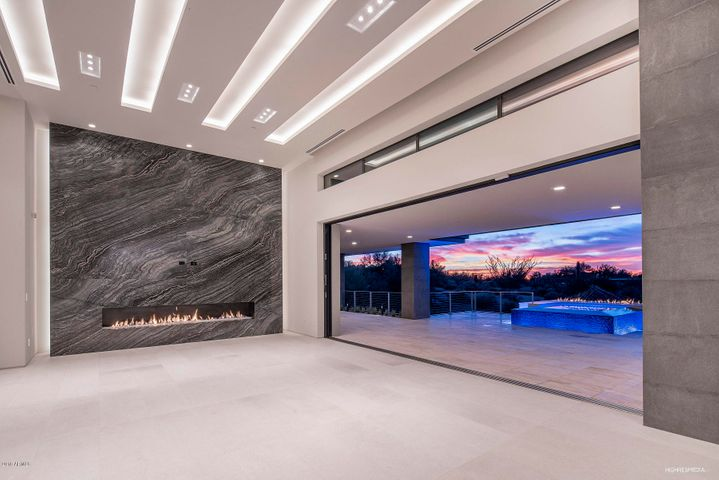 Great room with fire wall