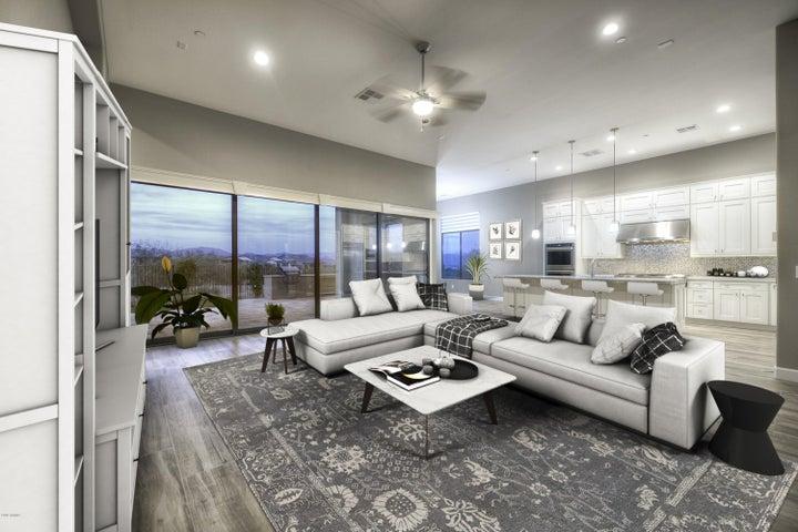 Expansive great room with 20' multi-slide door.