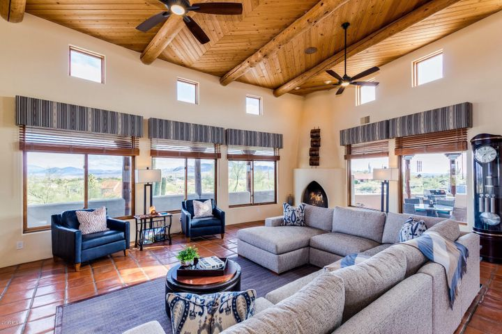 Wood Blinds, Custom Cornices, Sky Pocket Windows, Wood Beams, Views!