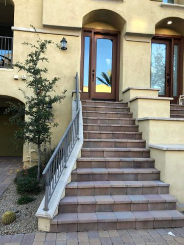 Dramatic staircase view from the street.