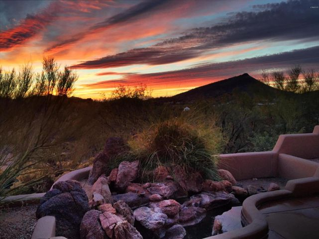 Beautiful southwest sunsets with soothing water feature