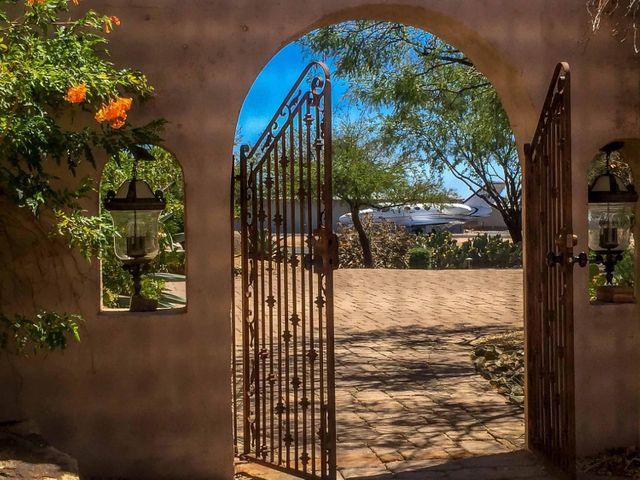 Southwest residence with a prime runway location, also on the Desert Forest Golf Course.