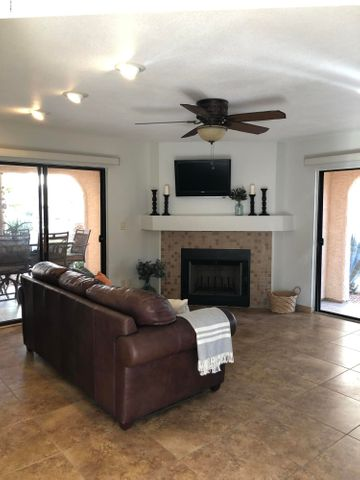 Living room with two sliding glass doors