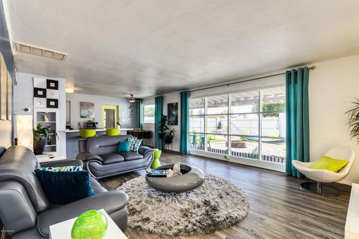 Natural light fills the Great Room - it retains it's original Mid-Century vibe.