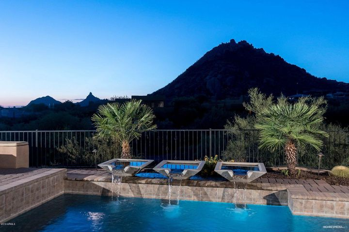 Troon Mountain and Pinnacle Peak from this lovely salt water pebble-tec pool and pavers patio
