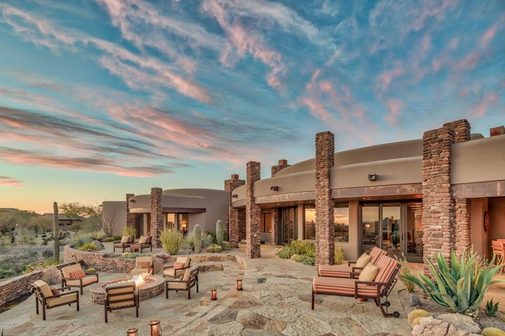 Expansive back patio with sunset views and city lights