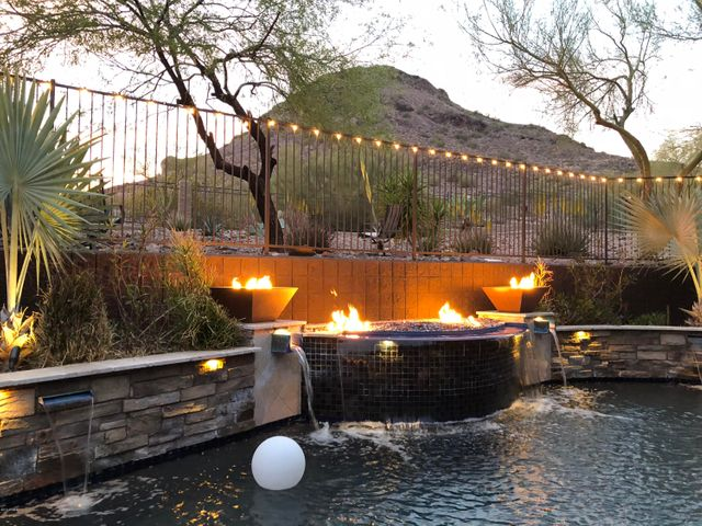 Pool with fire and water features