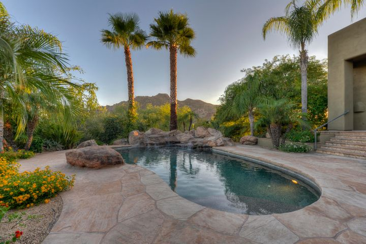Lagoon style pool with soothing waterfall & giant palm trees.
