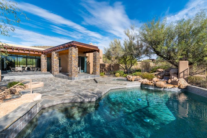Serene Pool & Patio with Boulder Water Feature