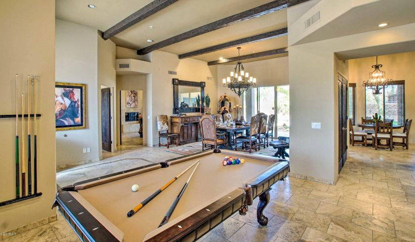 Entry, pool table and dining area
