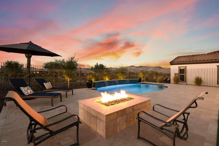Magical evenings looking over the mountain vistas with your gas firepit and pool.