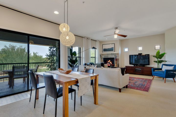 Dining and living space flow for easy entertaining.