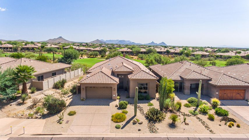 Perfectly set on golf course, yet private, south facing backyard with pool & spa