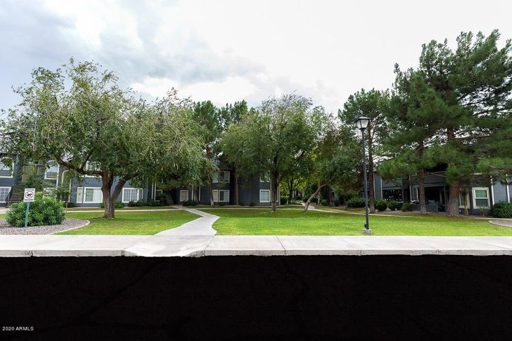 Beautiful mature trees and green grass with no maintenance for residents!