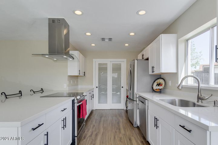 Pantry glass doors, stainless steel Samsung appliances with counter depth refrigerator