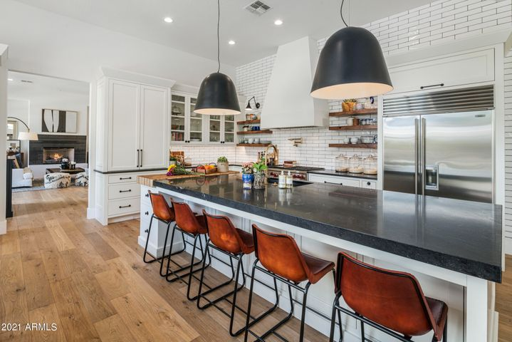 State Of The Art Kitchen With Subzero, Wolf, Asko, Coffee Bar, Custom Cabinetry, Boos Butcher Block, & Honed Granite