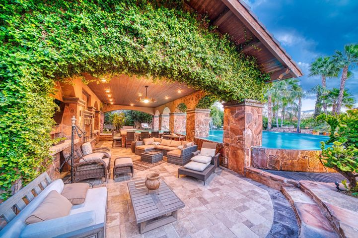 Complete outdoor living with fireplace, TV, fridge, 8 person bar and swim up grotto style bar