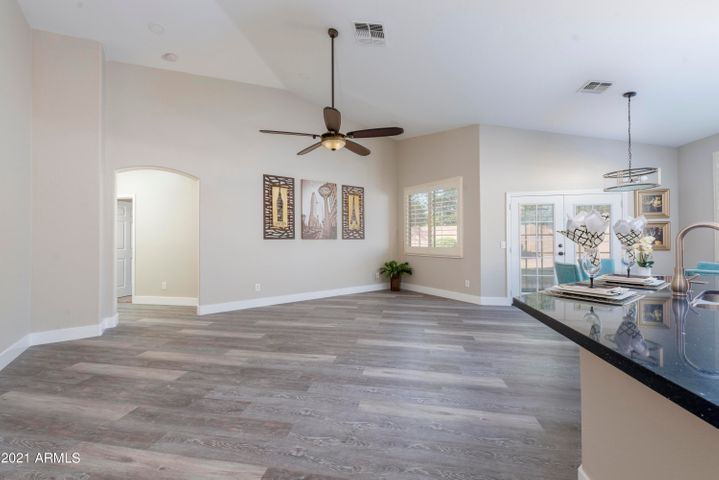 Spacious family room with high ceilings