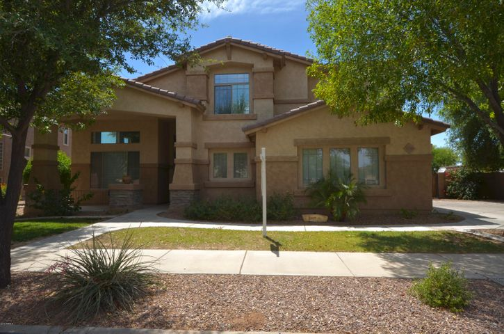 Welcome to your next home! Located in the Sossaman Estates community. This neighborhood is filled with greenbelt parks, riding paths and top rated schools. This is a VERY popular floorplan with a large open kitchen with gas appliances, open family room with a space for pool or game table for those fun family nights. The guest bedrooms are all oversized, and the master is split for privacy. Upstairs loft as a walk out view deck over looking the park. this is a great home in an great community. Don't miss it.