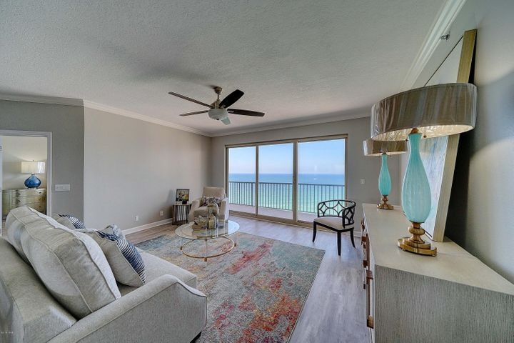 Stunning Summerwinds Penthouse now for sale in Panama City Beach! This 3 bedroom, 3 full bath condo with private garage has just been completely renovated from floor to ceiling.  This is your luxury home at the beach!  Summerwinds is a premier, gated, non rental community featuring your own private garage, 2 pools (1 heated), gulf front community room and workout room.  Take advantage of panoramic views the moment you open your front door.  Enjoy the perfect layout, including a gulf front master bedroom with gorgeous master bath and walk in closet, an open floor plan, and large balcony, all with beautiful views.  The second and third bedrooms include updated private baths, one with gulf views, and the other with views of Grand Lagoon. This is a must see condominium home - Call Today!